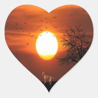 Adesivo Coração Por do sol, árvore, pássaros, Weimaraner, cão