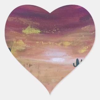 Adesivo Coração Por do sol do deserto