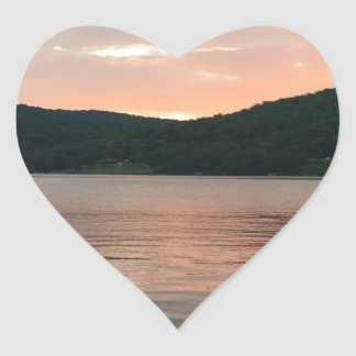 Adesivo Coração Por do sol na água
