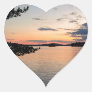 Adesivo Coração Por do sol sobre o lago Maine Millinocket da ilha