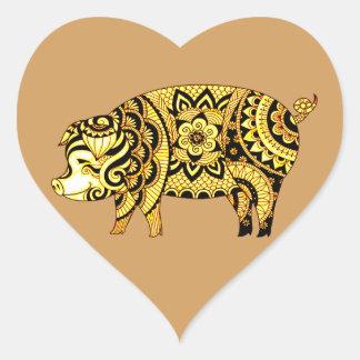 Adesivo Coração Porco