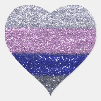 Adesivo Coração Prata Sparkly do falso, rosa, coração azul ©AH2010