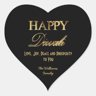 Adesivo Coração Preto de Diwali e tipografia elegantes do olhar do