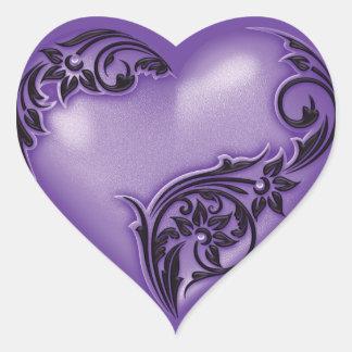 Adesivo Coração Preto de w das glicínias do rolo do coração