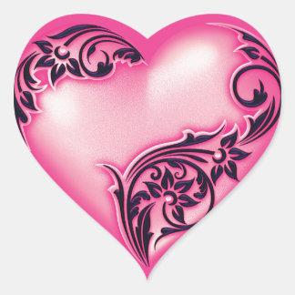 Adesivo Coração Preto de w do rosa quente da luz do rolo do