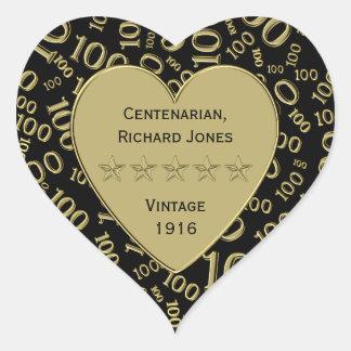 Adesivo Coração Preto do aniversário do Centenarian 100th e tema