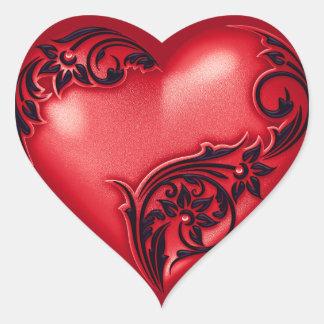 Adesivo Coração Preto vermelho de w do rolo do coração