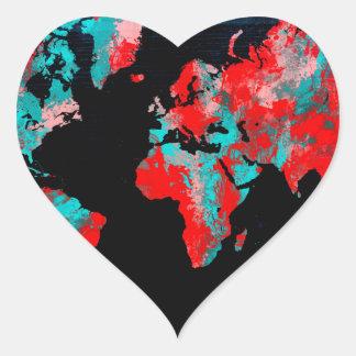 Adesivo Coração preto vermelho do mapa do mundo