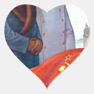 Adesivo Coração Propaganda original Mao Zedong e Josef Stalin