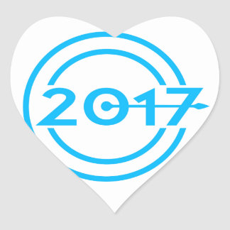 Adesivo Coração Pulso de disparo da data de 2017 azuis