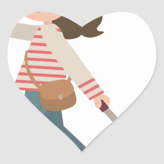 Adesivo Coração Puxando a bagagem
