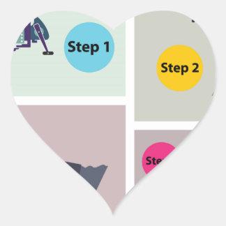 Adesivo Coração Quatro etapas para moldar a haste de giro com
