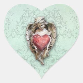 Adesivo Coração Querubim barroco do vintage com coração