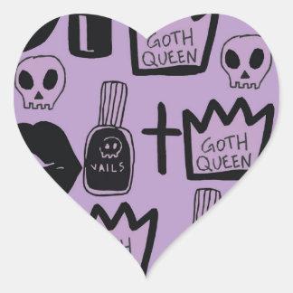 Adesivo Coração rainha gotica purpura
