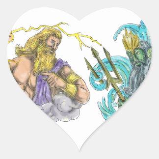Adesivo Coração Raio de Zeus contra o tatuagem de Poseidon Trident