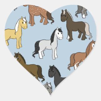 Adesivo Coração Rebanho bonito dos cavalos