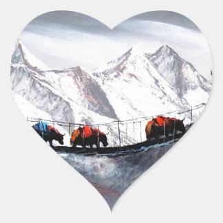 Adesivo Coração Rebanho de iaques Himalaya da montanha