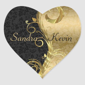 Adesivo Coração Redemoinhos pretos elegantes do ouro dos damascos