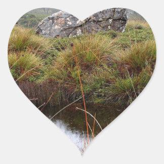 Adesivo Coração Reflexões enevoadas da manhã, Tasmânia, Austrália