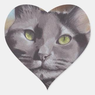 Adesivo Coração Retrato cinzento do animal de estimação do gato