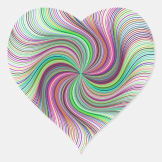 Adesivo Coração Roda colorida do redemoinho de prisma do arco-íris