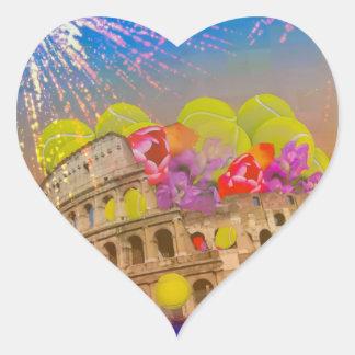 Adesivo Coração Roma comemora a estação com bolas de tênis, flores