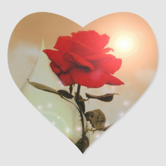 Adesivo Coração Rosa vermelha e namorados mágicos da lágrima