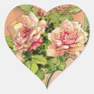 Adesivo Coração Rosas cor-de-rosa Antiqued (etiquetas dadas forma