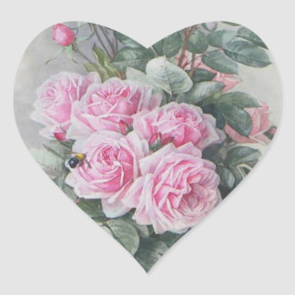 Adesivo Coração Rosas do rosa do Victorian do vintage