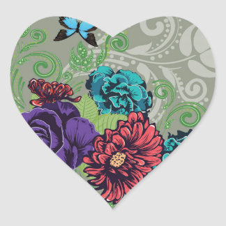 Adesivo Coração Rosas e borboletas Ornament2