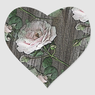 Adesivo Coração Rosas na madeira resistida