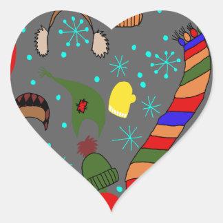 Adesivo Coração Roupa do inverno
