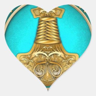 Adesivo Coração Runes - martelo dos Thors - cerceta