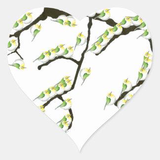 Adesivo Coração sakura com pássaros verdes, fernandes tony