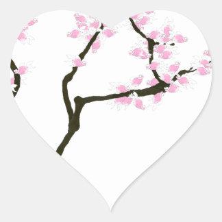 Adesivo Coração sakura com peixe dourado cor-de-rosa, fernandes