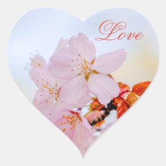 Adesivo Coração Sakura - flor de cerejeira japonesa