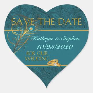 Adesivo Coração Salvar o coração do casamento do pavão da data