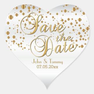 Adesivo Coração Salvar os pontos elegantes dos confetes do ouro da