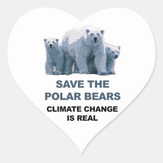 Adesivo Coração Salvar os ursos polares