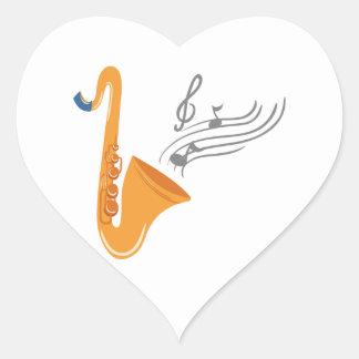 Adesivo Coração Saxofone do saxofone de Saxophon