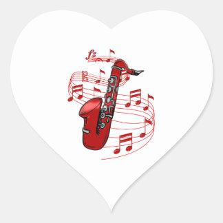 Adesivo Coração Saxofone vermelho com notas da música