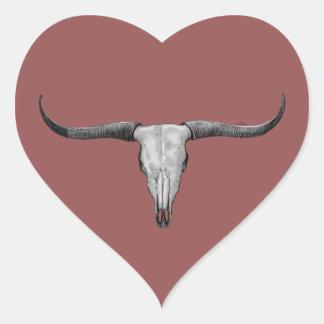 Adesivo Coração Scull de Longhorn