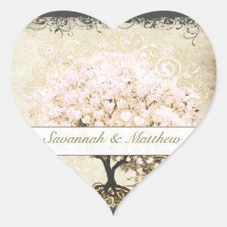 Adesivo Coração Selo cor-de-rosa do casamento da árvore da folha