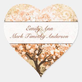 Adesivo Coração Selo coral do casamento da árvore da folha do