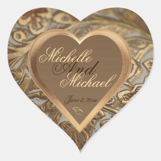 Adesivo Coração Selo customizável do envelope do casamento da