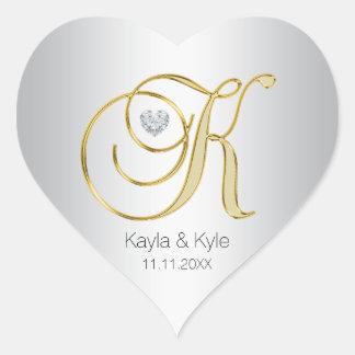 Adesivo Coração Selo de prata do envelope do casamento do