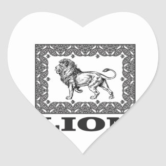 Adesivo Coração selo do leão