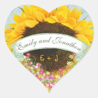 Adesivo Coração Selo floral do casamento do girassol do rosa e do