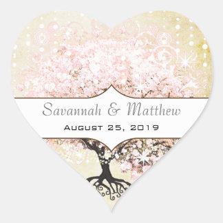 Adesivo Coração Selo romântico do casamento da árvore do rosa da