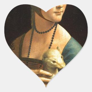 Adesivo Coração Senhora da pintura de Da Vinci original com um